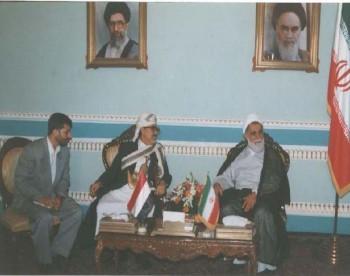 الشيخ عبد الله مع رئيس مجلس الشورى الإسلامي الإيراني علي ناطق نوري أثناء زيارته البرلمانية لإيران في يوليو 1998م.