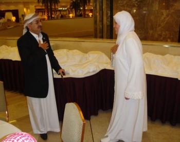 الشيخ صادق مع الدكتورة ياسمين الخيام بنت الشيخ الحصري  فى الدوحة عقب اختتام مؤتمر القدس السادس 14-10-2008